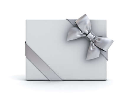Gift box or present box with silver ribbon and bow isolated on white background with shadow . 3D rendering.