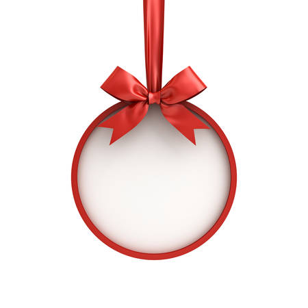Christmas ball frame hanging with red ribbon and bow isolated on white background for christmas decoration . 3D rendering.