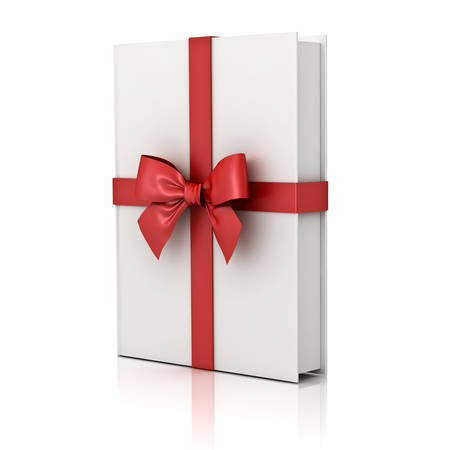 Gift book , blank book with red ribbon and bow isolated on white background with reflection . 3D rendering.