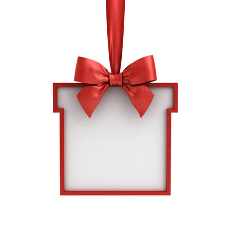 Blank Gift box frame hanging with red ribbon and bow isolated on white background . 3D rendering.