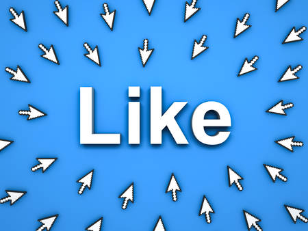 Popular Like concept many arrow cursors mouse clicking like button or link on blue background with shadows . 3D rendering.