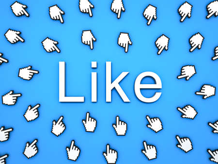 Popular Like concept many hand cursors mouse clicking like button or link on blue background with shadows . 3D rendering.