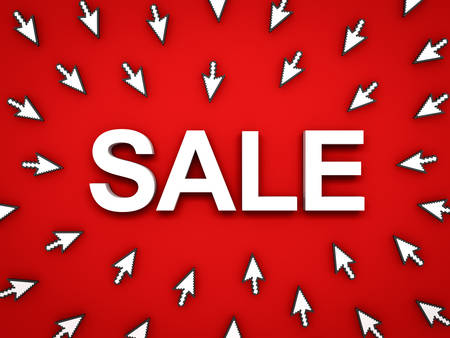 3d white sale word with arrow cursors on red background with shadow. 3D rendering. Banque d'images