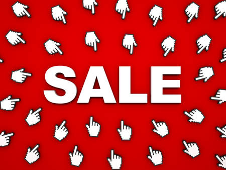 3d white sale word with hand cursors on red background with shadow. 3D rendering.