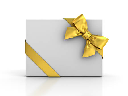 Gift box with gold ribbon and bow isolated over white background . 3D rendering.