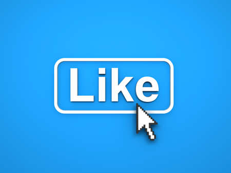 Like button with arrow cursor on blue background. 3D rendering.