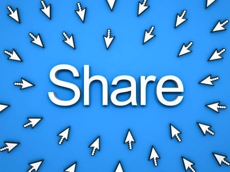 Popular Share concept , many arrow cursors mouse clicking share button or link on blue background with shadows . 3D rendering.