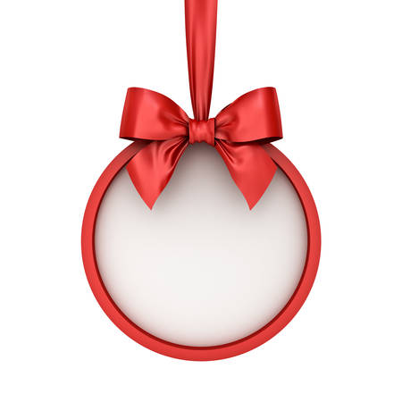 Blank Christmas round banner hanging with red ribbon and bow isolated over white background . 3D rendering.