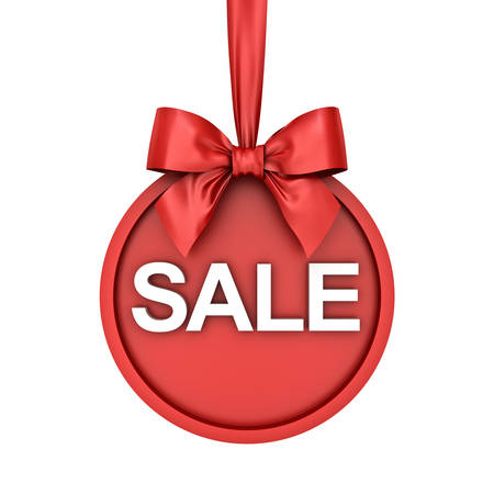 Christmas sale round banner hanging with red ribbon and bow isolated over white background. 3D rendering. Banque d'images