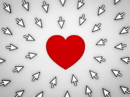 Many arrow cursors clicking red heart button isolated on grey background. 3D rendering.