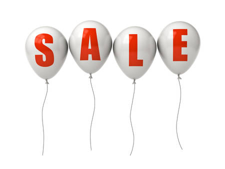 Red sale text on white balloons isolated over white background. 3D rendering.