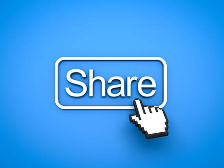 Share button with computer hand cursor isolated on blue background. 3D rendering. Stock Photo