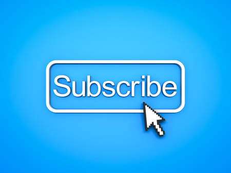 Subscribe button with computer arrow cursor on blue background. 3D rendering. Stock Photo