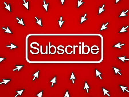 Subscribe button with many computer arrow cursors on red background. 3D rendering. Banque d'images