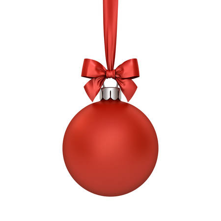 Christmas ball hanging with red ribbon and bow isolated over white background. 3D rendering. Banque d'images
