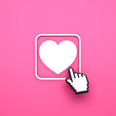 Love button with computer hand cursor isolated on pink background. 3D rendering.