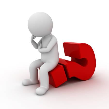 3d mensenzitting op groot rood vraagteken en denken geïsoleerd over witte achtergrond. 3D-rendering.