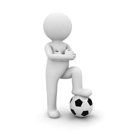 3d man standing with soccer ball under his foot isolated on white background. 3D rendering.