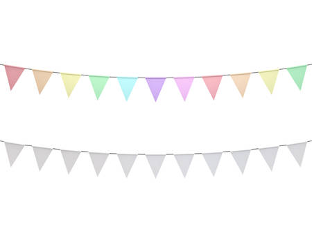 Colorful pastel colors and white bunting flags isolated on white background. 3D rendering.