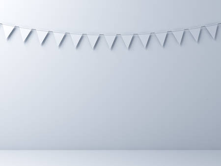 Blank white wall background with white bunting flags . 3D rendering.