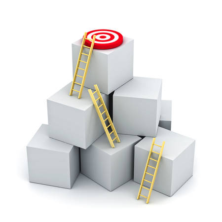 Climbing ladders to the red goal target on top of the boxes isolated on white background . 3D rendering.
