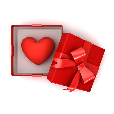 Open red gift box or present box with red heart in the box isolated on white background with shadow . 3D rendering. Banque d'images
