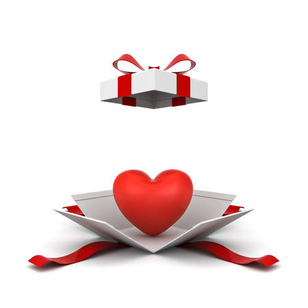 Open gift box , present box with red heart isolated on white background with shadow . 3D rendering.