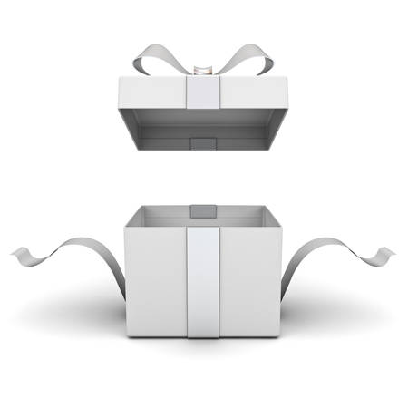 Open gift box , present box with silver ribbon and bow isolated on white background with shadow . 3D rendering. Banque d'images