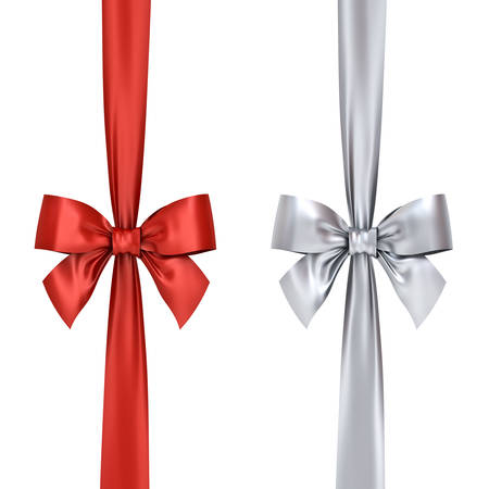 Red and silver gift ribbon bows isolated on white background . 3D rendering. Stok Fotoğraf