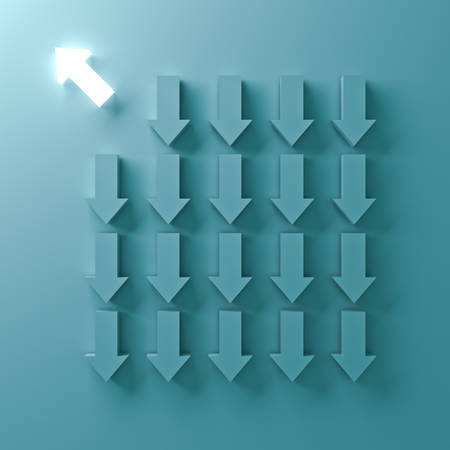 Think different , One light arrow going to the bright side away from down arrow directions on green pastel color background , individuality and different creative idea concepts . 3D rendering.
