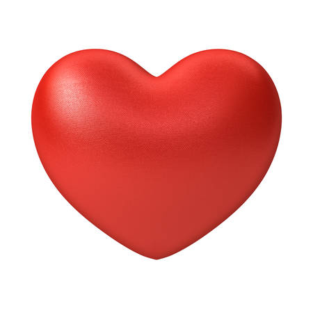 Red Heart isolated on white background . 3D rendering. Stock Photo