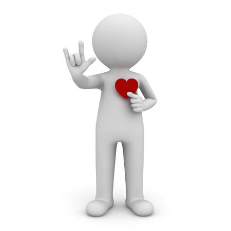 3d man doing I Love You hand sign with red heart isolated over white background. 3D rendering. Banque d'images