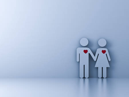 Love couple holding hand on white background with shadow. 3D rendering.