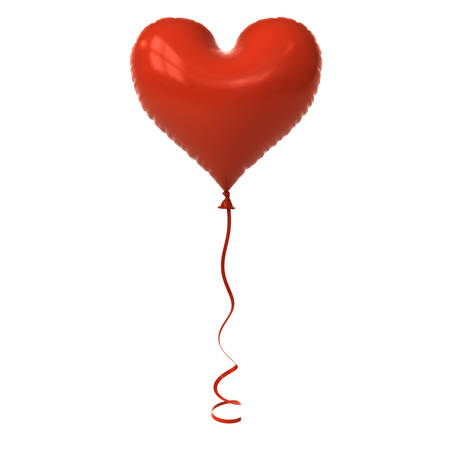 Red heart balloon isolated on white background with window reflection for valentines day . 3D rendering.