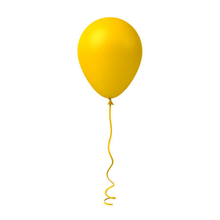 Yellow balloon isolated on white background . 3D rendering. Banque d'images