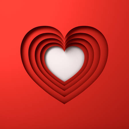 Red Heart layers paper cut style background with shadow. 3D rendering.