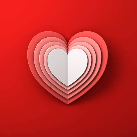 Heart shape layers folded paper art style on red background with shadow. 3D rendering. Banque d'images