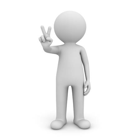 3d man showing victory hand sign isolated on white background with shadow . 3D rendering. Banque d'images