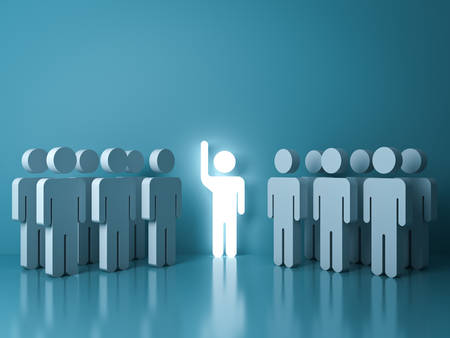 Stand out from the crowd and different concept , One glowing light man raising his hand among other people on light green pastel color background with reflections and shadows . 3D rendering.