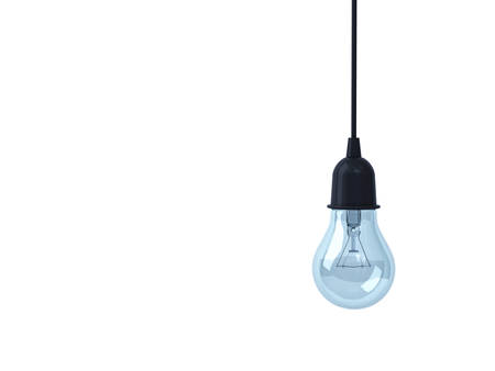 Hanging Light bulb isolated on white background . 3D rendering. Banque d'images