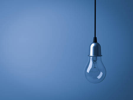 Hanging Light bulb isolated on dark blue background . 3D rendering. Banque d'images