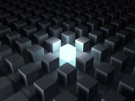 Stand out from the crowd and different creative idea concepts , One glowing light cube shining among other dim cubes in the dark night background with reflections and shadows . 3D rendering. Banque d'images