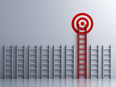 Long red ladder to goal target concept . 3D rendering.