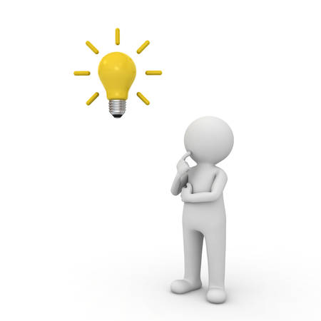 3d man thinking with idea bulb above his head isolated over white background. 3D rendering.