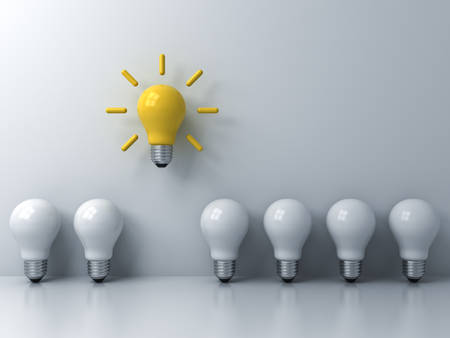 Think different concept , One yellow idea light bulb standing out from the white unlit bulbs with window reflections and shadows, leadership and individuality creative idea concepts . 3D rendering.