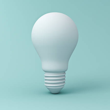 Blank light bulb on blue pastel color background with shadow . 3D rendering.