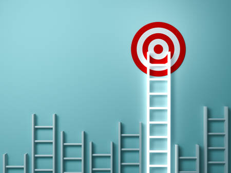 Stand out from the crowd and different creative idea concepts , Longest light ladder glowing and aiming high to goal target among other short ladders on green background with shadows . 3D rendering.