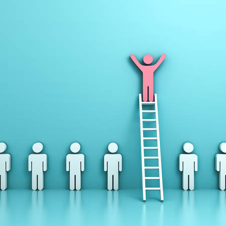 Stand out from the crowd and think different concepts , One pink man standing with arms wide open on top of  ladder above other people on light blue pastel background with reflections . 3D rendering. Stock Photo