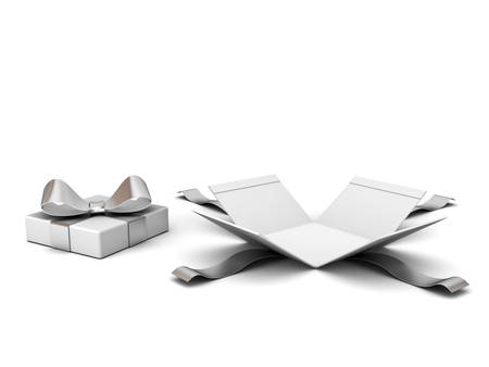Open gift box , Present box with silver ribbon and bow isolated on white background with shadow . 3D rendering.