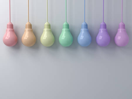 Colorful hanging light bulbs on white wall background. 3D rendering.